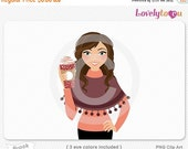 SALE Hot apple cider woman, take-out coffee clip art, digital PNG clipart (Brook 622)