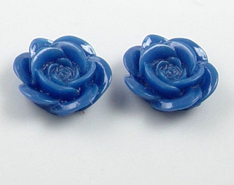 CLEARANCE Cabochon Flower 6 Resin Round Rose Blue Flower Opaque 18mm (1012cab18m4-8)os