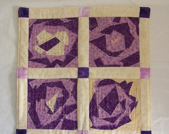 Scrappy Quilt Fractured Flowers in Purple Quilted Table Runner or Mug Rug