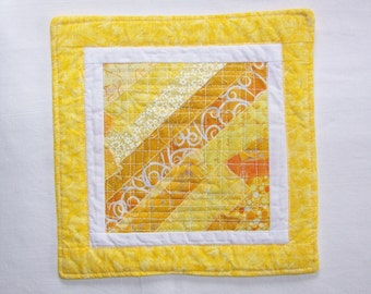 Scrappy Modern  Yellow  and White Mug Rug Coaster or Mini Quilt #3