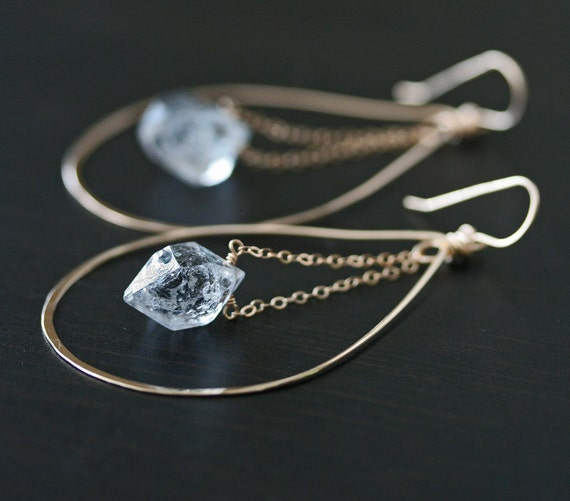 Herkimer Diamond Earrings, Gold Hoop Earrings, Hoop Earrings, Crystal Earrings, Raw Crystal Earrings, Hammered Earrings, Quartz Earrings