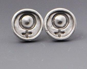 Sisterhood- Woman Symbol Stud Post Wire Earrings