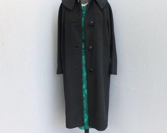 Vintage 50s Black Full Length Wool Coat, Mad Men, Elegant Opera or Dinner Coat