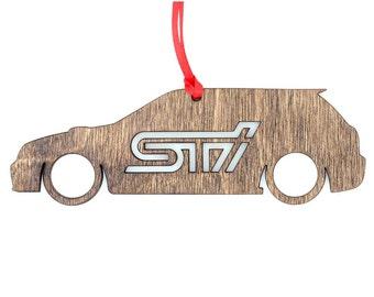 Wooden Subaru STI Wagon Ornament