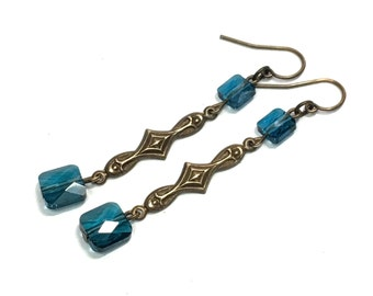Blue square crystal decorative dangle earrings