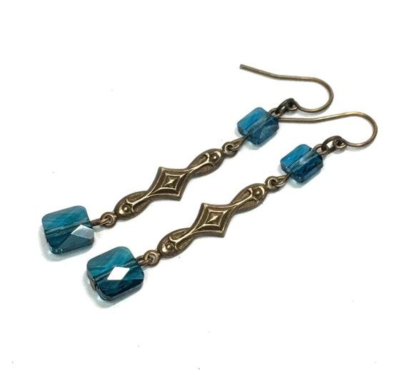 Blue square crystla decorative dangle earrings