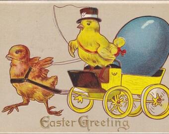 Easter postcard -  Easter Greeting  Vintage  Postcard, chicks, Easter egg cart, Easter vintage  postcard, Easter vintage, Easter ephemera