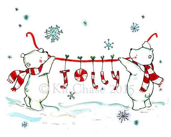 Holiday Wall Decor ---JOLLY BEARS--Art Print
