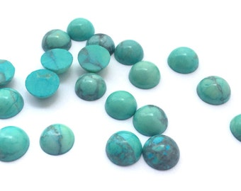 12 Pieces Natural Howlite Dyed Chinese Turquoise Cabochons-8mm (08HCHT)(B-5-20)
