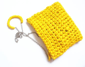 Yellow Knitted Clutch, Yellow Woven Bag, Yellow Cotton Bag, Yellow Accessories, Summer Clutch, Tshirt Yarn Clutch, Yellow Canvas.