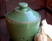 Garlic Keeper Lidded Jar for Kitchen in Bright Green