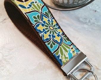 Fabric Wrist Key Chain / Key Fob / Fabric Keychain / Blue Paisley