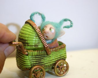 ooak poseable frightened new born baby bug fairy in a buggy   ( # 6 ) polymer clay art doll by DinkyDarlings elf pixie faery