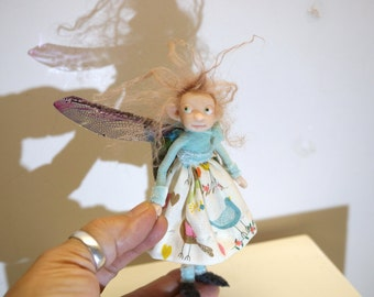 ooak poseable sweet little common PIXIE fairy ( #6 ) polymer clay art doll by DinkyDarlings elf pixie faery