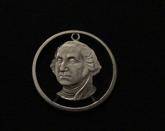 George Washington - cut coin pendant - Hand Cut From US Dollar coin