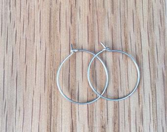 """3/4"""" stering silver hoops"""