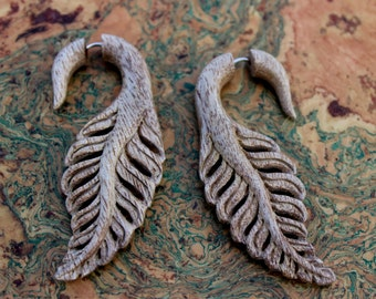 Hawaiian Chocolate Mango Wood Fake gauge earrings ,Wood, Organic, Tribal Expander ,Split ,tribal style,
