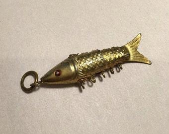 Gold tone  koi fish charm pendant
