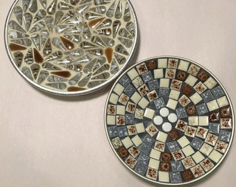 Mid Century Mosaic Tile Plates
