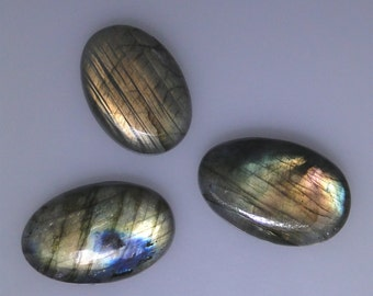 3 Labradorite oval cabochons, very good or better multi color flash, 100.29 carats t.w.   043-10-638