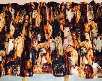 New Window Curtain Valance from Horse Pony Mare Cotton Fabric