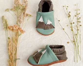 Mountains Soft Soled Leather Shoes Slippers Baby and Toddler