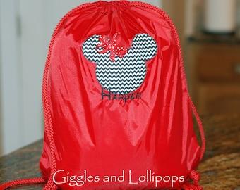 Girls personalized Disney Mickey minnie Mouse backpack cinch sak chevron