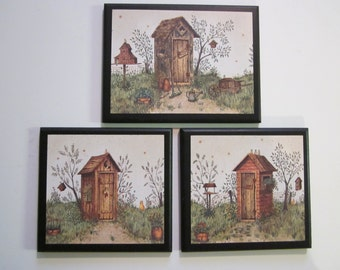 Outhouses with cat & rooster, 3 Rustic Lodge Bath Wall Decor country outhouse farmhouse plaques bathroom