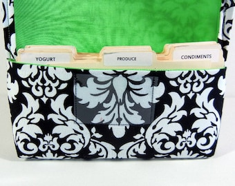 Coupon Holder or Purse Organizer Fabric Black and White Classic Damask Lime Green Lining