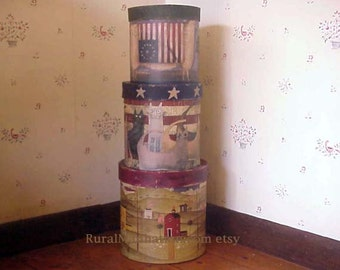 Primitive Nesting Boxes Set Of Three Americana Country Kitchen Containers Prim