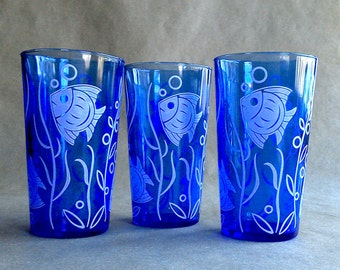 Cobalt Blue Hazel Atlas Fish Tumblers Summer Entertaining Seaside Beach Cottage Kitchen Decor Set of 3