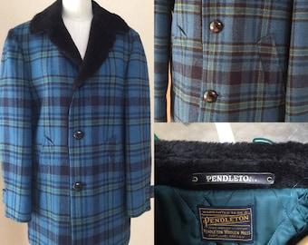Vintage Pendleton Jacket. Men's Blue Plaid size 40-44. Faux fur collar