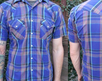 Vintage plaid Shirt, Snap Down Men's Vintage 70's Shirt. blue Plaid