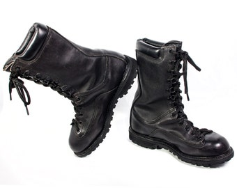 VTG 90's Shiny Black Leather Combat Boots size 7 Mens / 8 1/2 Womens Lace Up Calf High Army Boots Punk Rock Grunge Hiking Boots