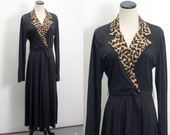 VTG 80's Leopard Print Wrap Dress (Medium) Shirt Day Dress Full Circle Skirt Black Long Sleeves V Neck