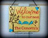 Hand Painted Decorative Slate Sign/ Personalized Welcome Decorative Slate Sign/ Personalized Blue Birds Slate Sign/Personalized Sign