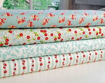 Blue and Aqua Floral Bundle, 4 Half Yard Pieces, Riley Blake Cottons