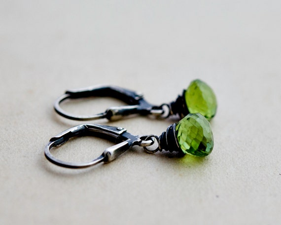 Peridot Earrings, Drop Earrings, August Birthstone, Peridot Jewelry, Sterling Silver, Dangle Earrings, Gemstone Earrings, Lime Green