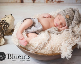 Baby Hat, Newborn Photo Prop Cute as a Button Stocking Baby Hat, Knit Baby Hat, Baby Photo Prop, Long Tail Hat