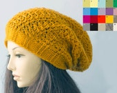 Slouchy Beanie, Winter Hat,  Women's Gift, Custom Chose Color,  Slouchy Hat,  Chunky Hat, Hand  Crochet Hat. Men's Hat