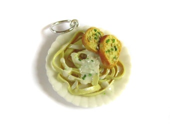 Fettuccine Alfredo Pasta Pendant - Realistic Miniature Polymer Clay Fake Food Charm