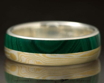 Mokumé Gane 18K Yellow Gold and Sterling Silver Ring with Malachite Inlay