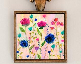 Flower Necklace Pendant, Bohemian Necklace Flower Jewlelry