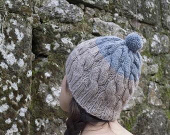 SALE! Handknitted Wool Hat, Beige and Misty Grey, Wool beanie, Bobble Hat