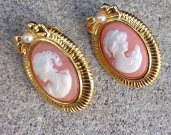 Cameo Gold Tone Clip On Earrings
