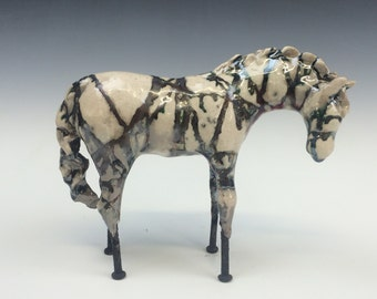 White copper striped Raku Horse 613
