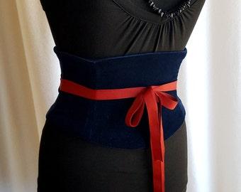 Navy Velvet Corset Belt - Waist Cincher Midnight Any Size Obi Belt Velveteen Dark Blue Indigo