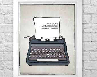 Death Cab For Cutie Where Soul Meets Body typewriter digital illustration print