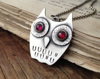 30% off Sale ~ Peculiar ~ sterling silver & garnet whimsical owl pendant, 18 inches ~ READY TO SHIP
