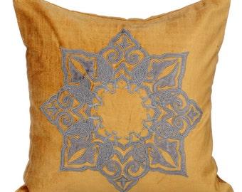 Gold Decorative Throw Pillow Covers Accent Pillow Couch Toss Sofa Pillow 16x16 Gold & Grey Velvet Applique Pillow Designzillas